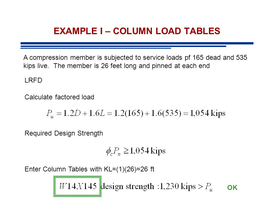 EXAMPLE I – COLUMN LOAD TABLES A compression member is subjected to service loads pf 165 dead and 535 kips live. The member is 26 feet long and pinned