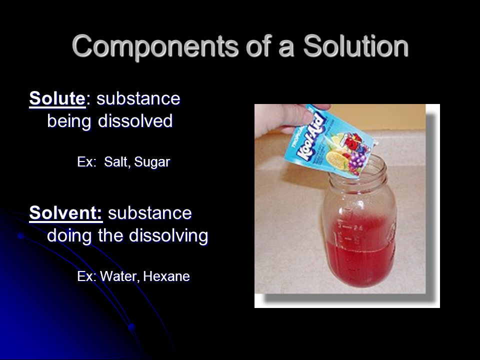 Stirring or Agitation: Allows for more solute/solvent contact, and faster dissolving of solids and liquids However, stirring will disturb dissolved gases and cause them to come out of solution.