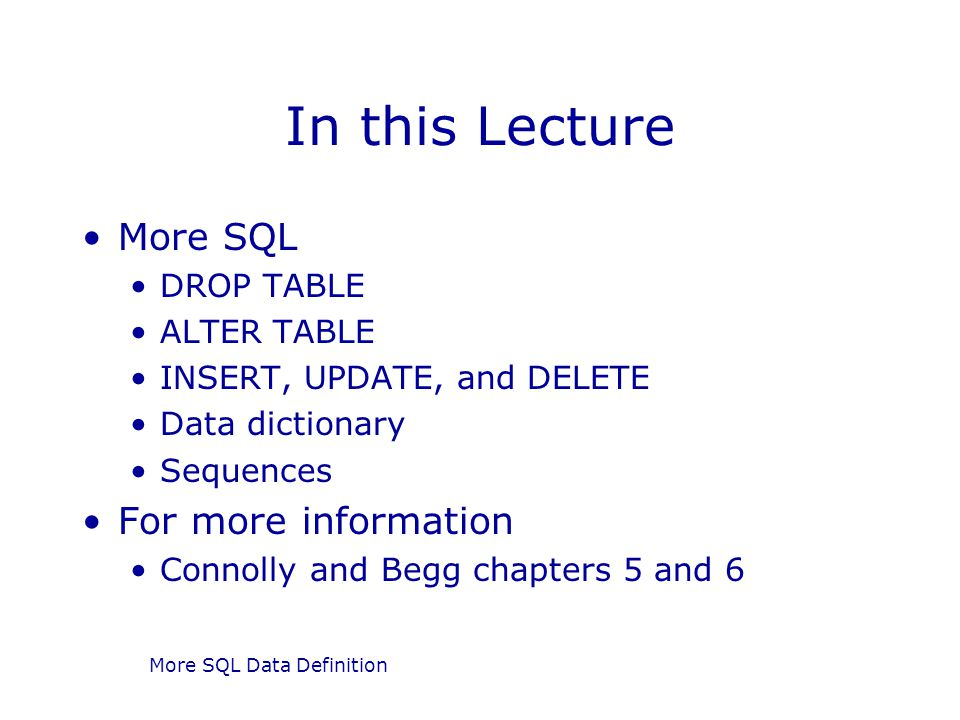 More SQL Data Definition Sequences In Oracle we use a Sequence A sequence is a source of numbers We can declare several sequences, giving each a name, a start point, and a step size We can then generate unique numbers by asking for the next element from a sequence