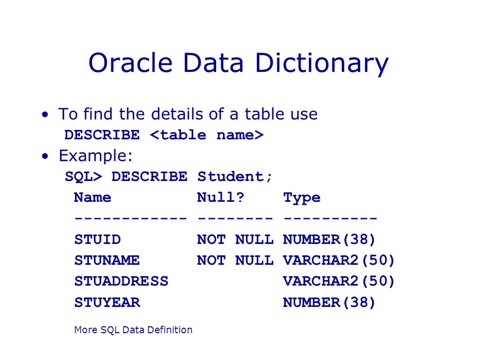 More SQL Data Definition Oracle Data Dictionary To find the details of a table use DESCRIBE Example: SQL> DESCRIBE Student; Name Null? Type ----------