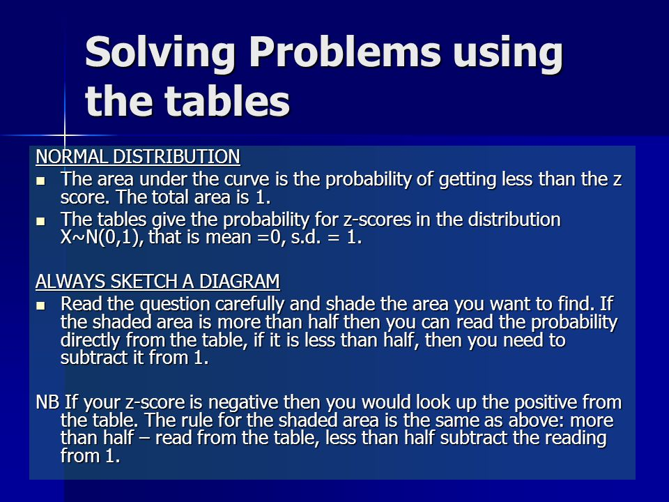 Solving Problems using the tables NORMAL DISTRIBUTION The area under the curve is the probability of getting less than the z score. The total area is
