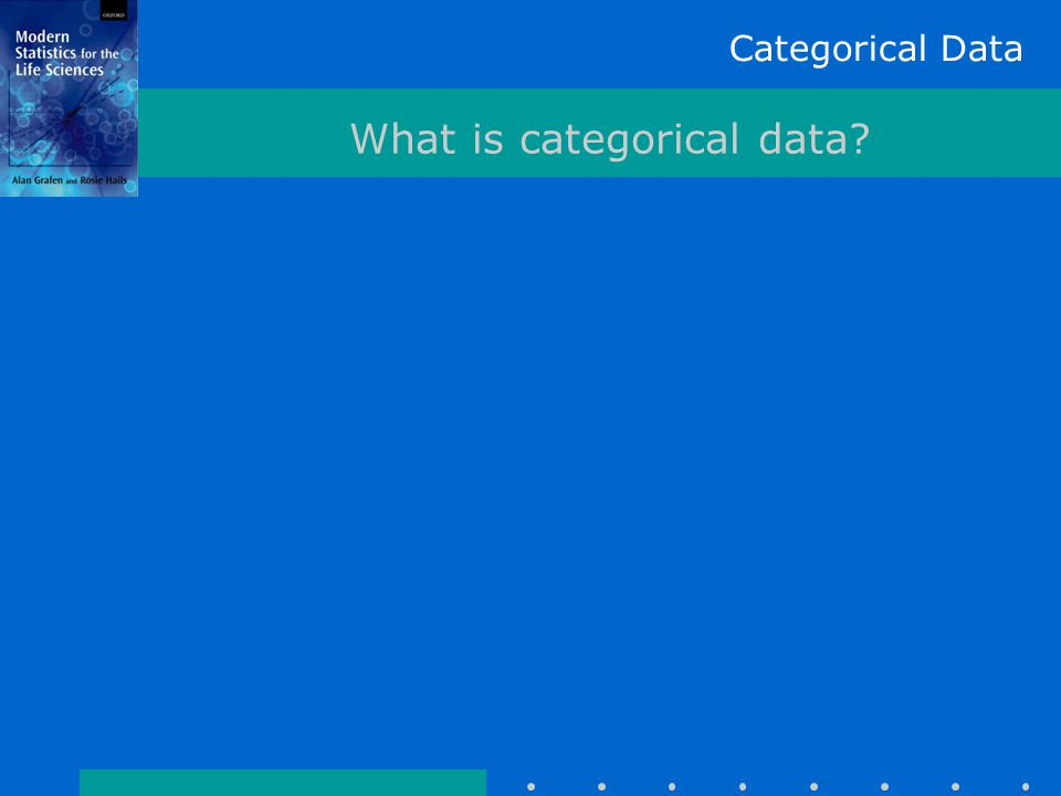 Categorical Data What is categorical data? 1. There are 952 datapoints 2. They must be independent