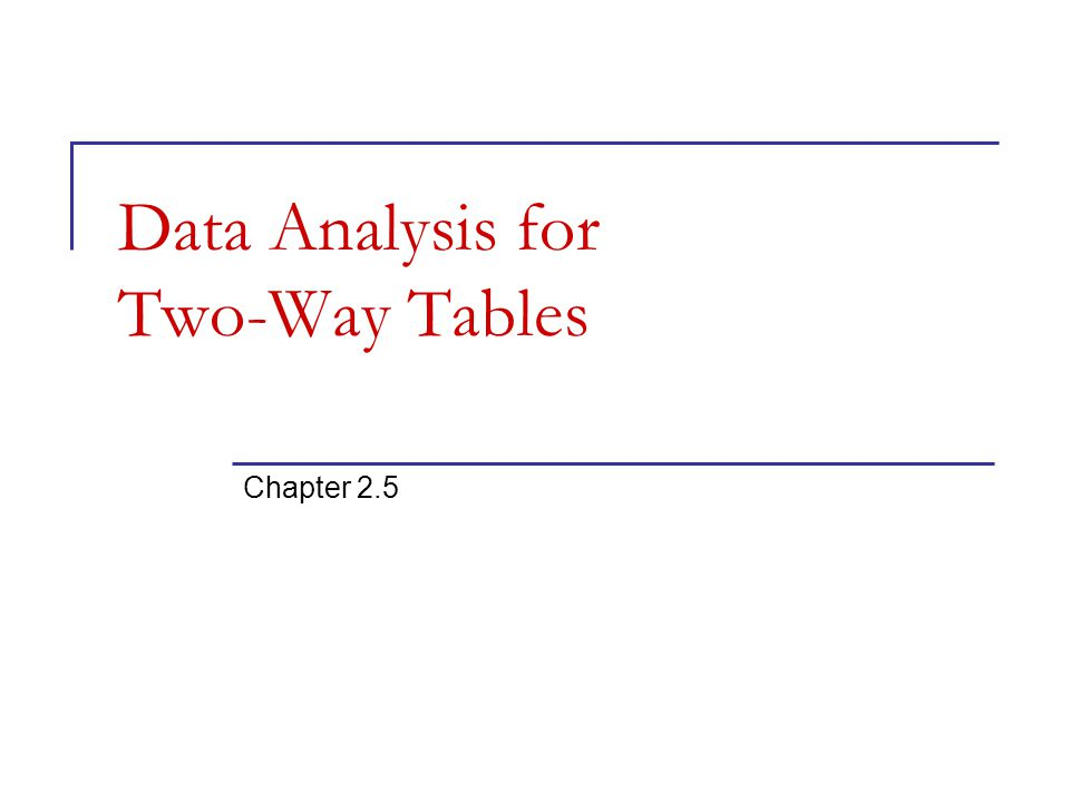 Data Analysis for Two-Way Tables Chapter 2.5