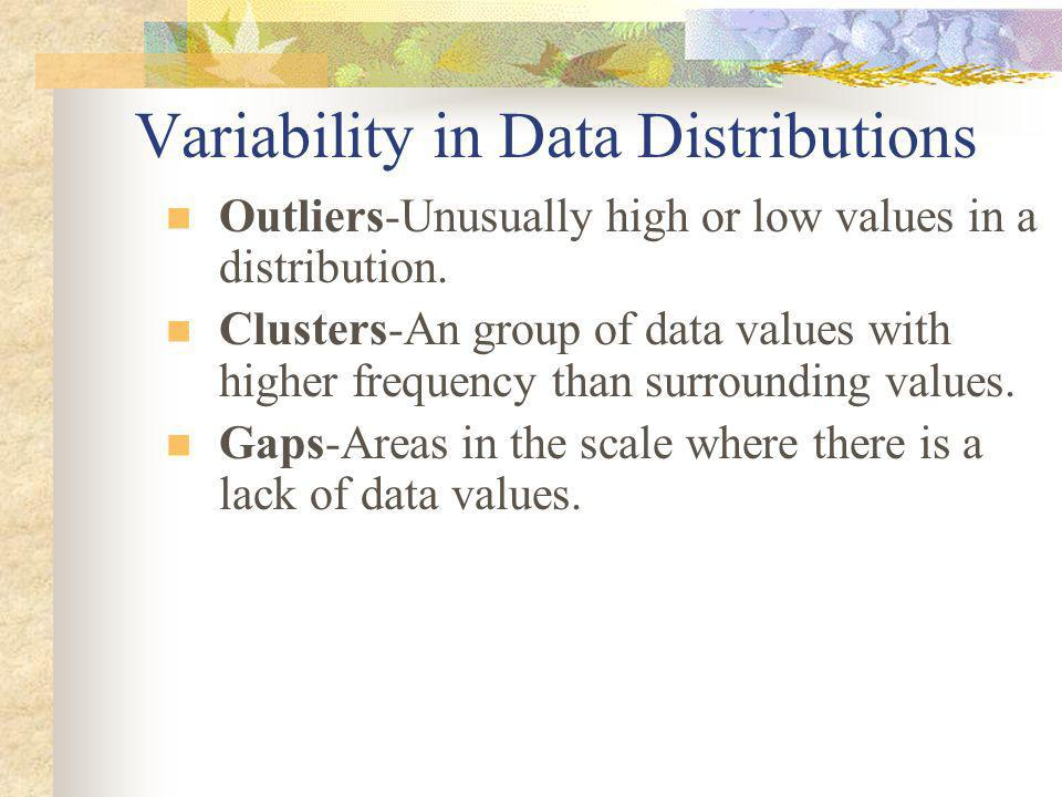 Variability in Data Distributions Outliers-Unusually high or low values in a distribution.