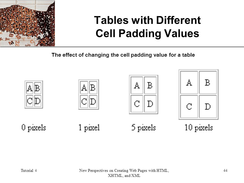 XP Tutorial 4New Perspectives on Creating Web Pages with HTML, XHTML, and XML 44 Tables with Different Cell Padding Values The effect of changing the cell padding value for a table