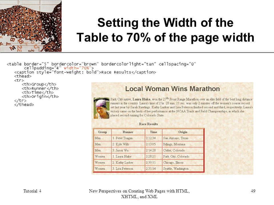 XP Tutorial 4New Perspectives on Creating Web Pages with HTML, XHTML, and XML 49 Setting the Width of the Table to 70% of the page width