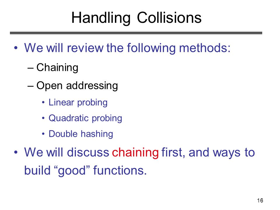 16 Handling Collisions We will review the following methods: –Chaining –Open addressing Linear probing Quadratic probing Double hashing We will discus