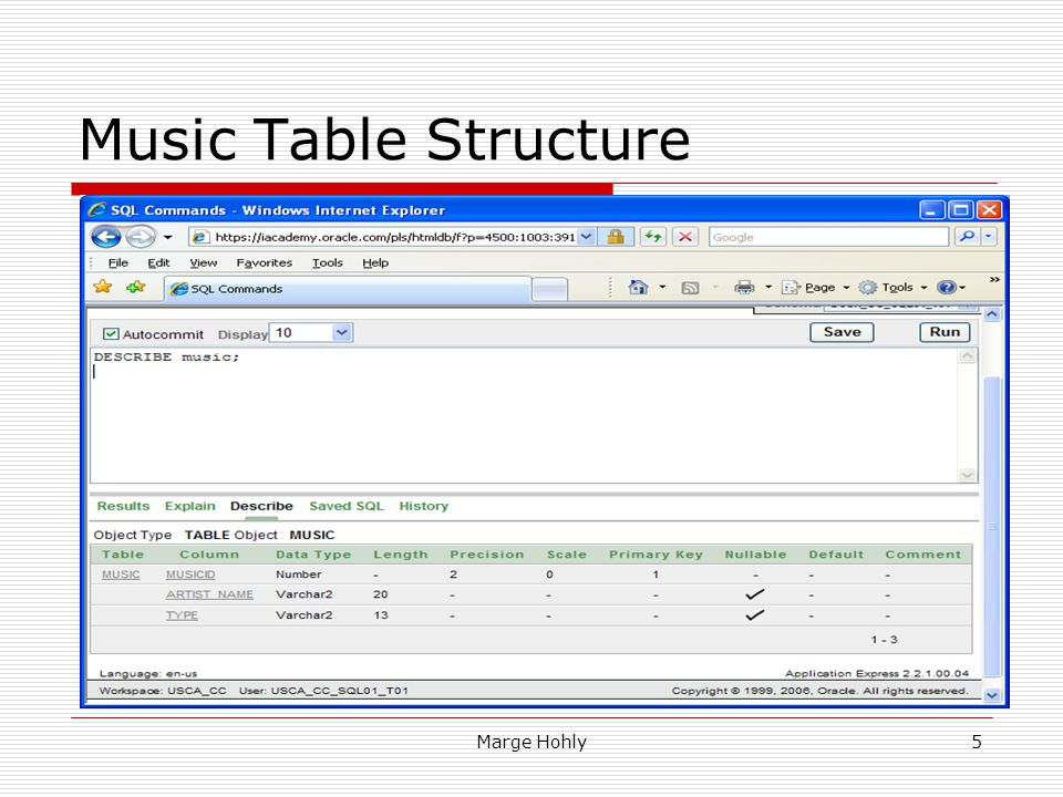 Marge Hohly5 Music Table Structure