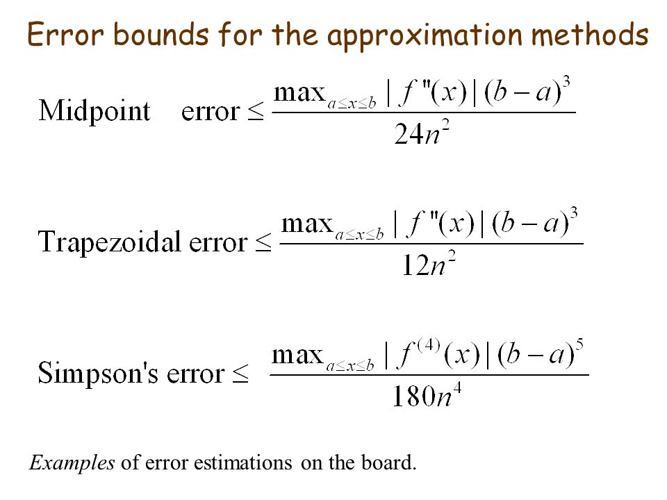 Error bounds for the approximation methods Examples of error estimations on the board.