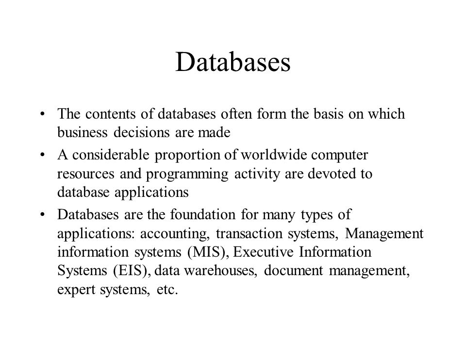 Commercial Enterprise Systems A central database draws data from and feeds data into a series of modules supporting diverse company functions