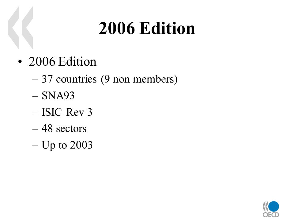 2006 Edition –37 countries (9 non members) –SNA93 –ISIC Rev 3 –48 sectors –Up to 2003