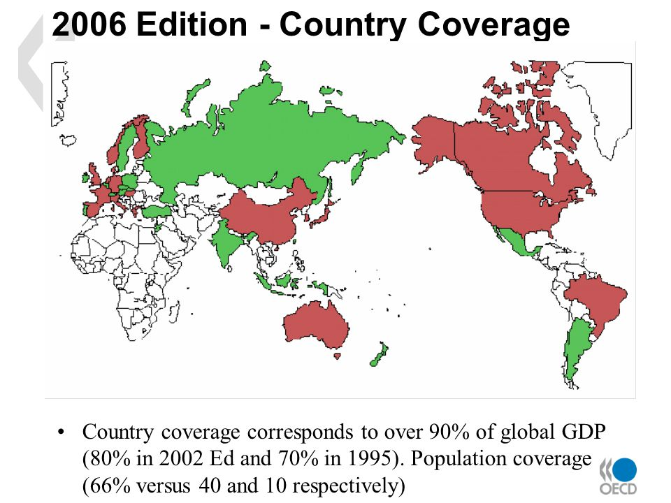 2006 Edition - Country Coverage Country coverage corresponds to over 90% of global GDP (80% in 2002 Ed and 70% in 1995).