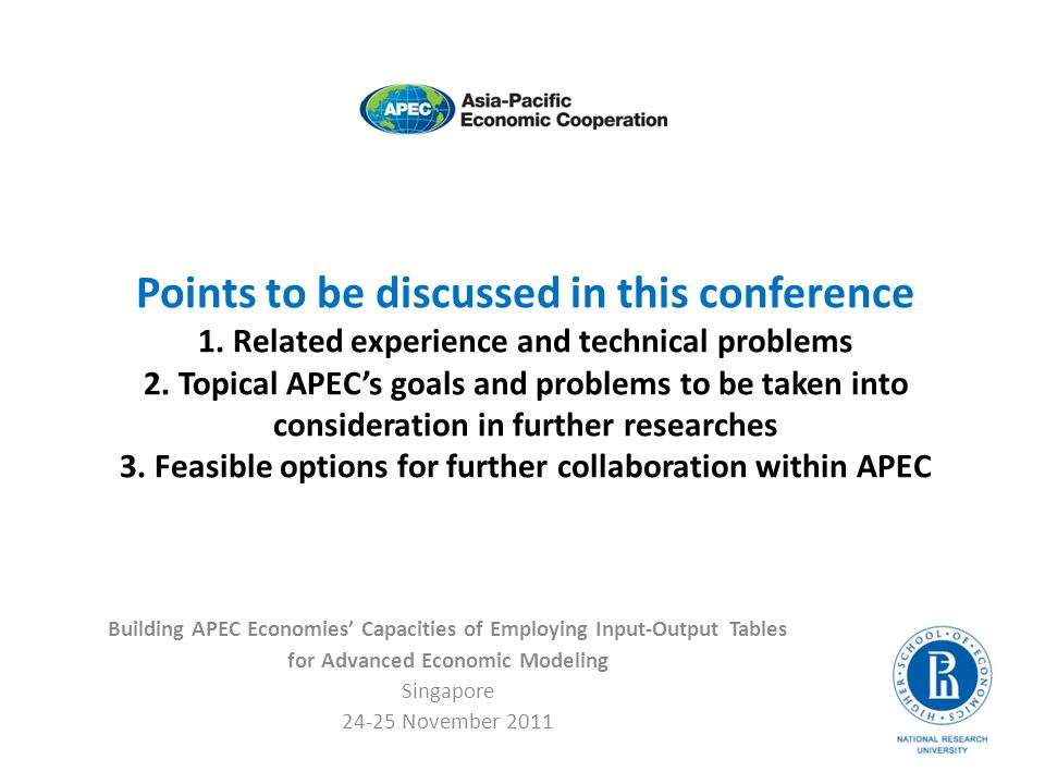 Points to be discussed in this conference 1.Related experience and technical problems 2.