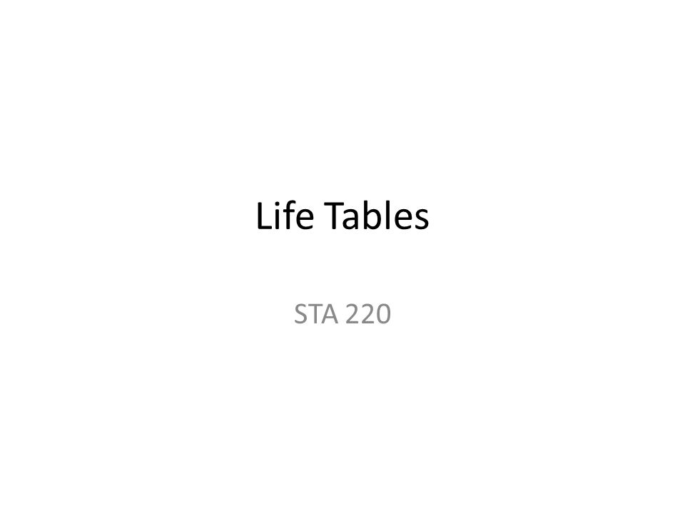 Life Tables A is a table which indicates the probability of someone (or something) being alive at a certain age Used extensively in the insurance business – Life Insurance – Based on gender, smoking status, current age, etc.