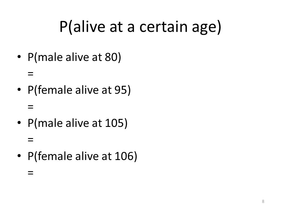 P(alive at an older age given alive at a younger age) Suppose your best friends aunt is 45.