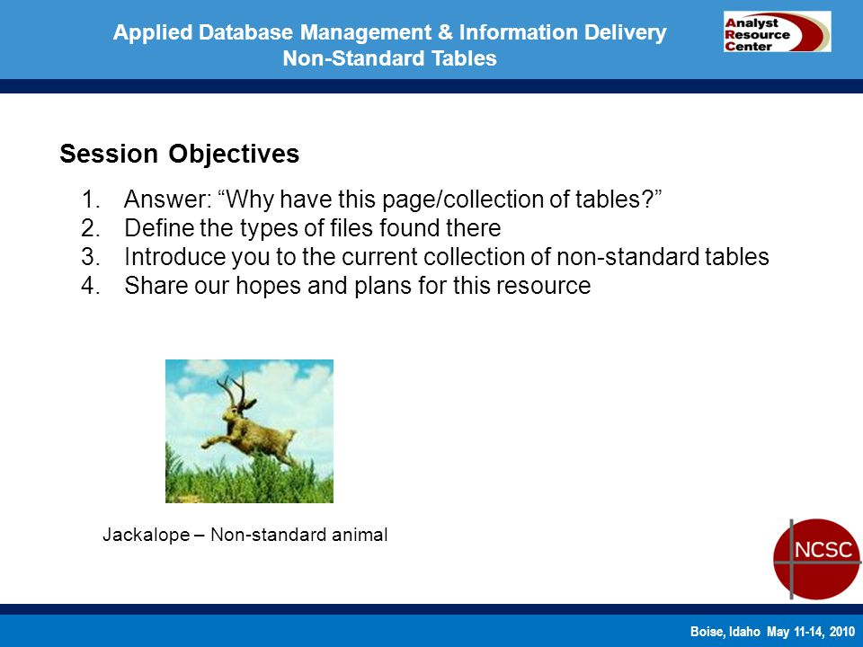 Boise, Idaho May 11-14, 2010 Applied Database Management & Information Delivery Non-Standard Tables Session Objectives 1.Answer: Why have this page/collection of tables.