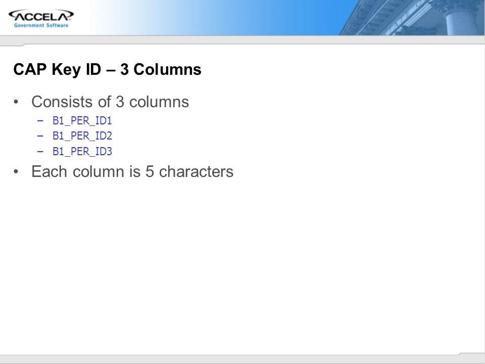 CAP Key ID – 3 Columns Consists of 3 columns –B1_PER_ID1 –B1_PER_ID2 –B1_PER_ID3 Each column is 5 characters