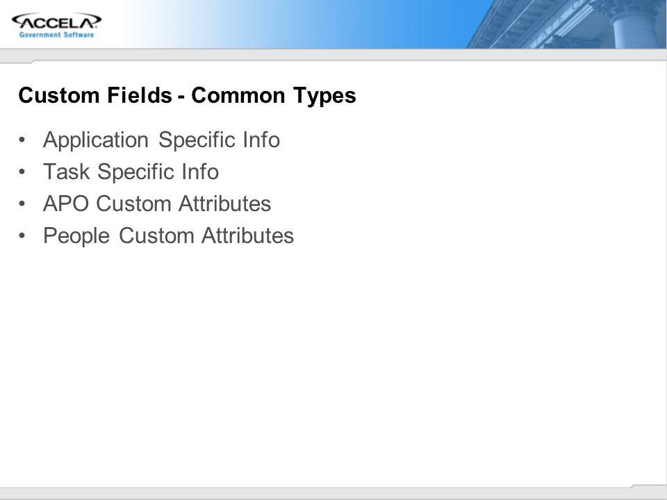 Custom Fields - Common Types Application Specific Info Task Specific Info APO Custom Attributes People Custom Attributes
