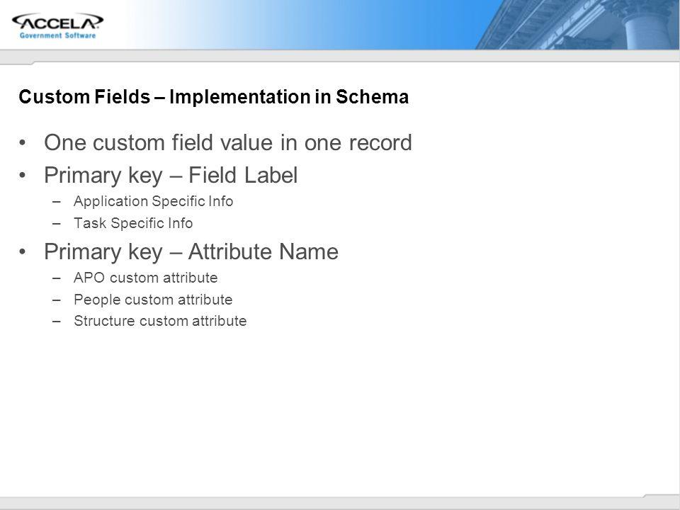 Custom Fields – Implementation in Schema One custom field value in one record Primary key – Field Label –Application Specific Info –Task Specific Info