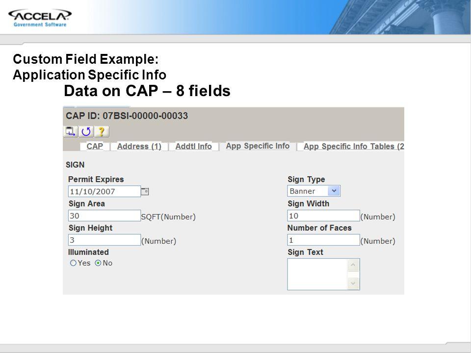 Custom Field Example: Application Specific Info Data on CAP – 8 fields