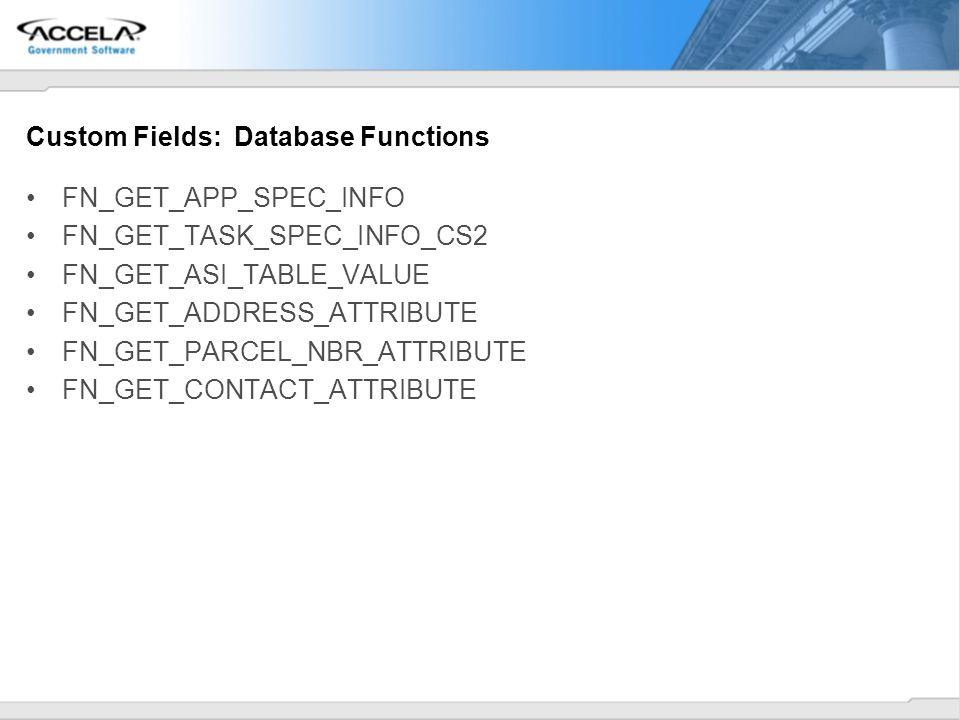 Custom Fields: Database Functions FN_GET_APP_SPEC_INFO FN_GET_TASK_SPEC_INFO_CS2 FN_GET_ASI_TABLE_VALUE FN_GET_ADDRESS_ATTRIBUTE FN_GET_PARCEL_NBR_ATT