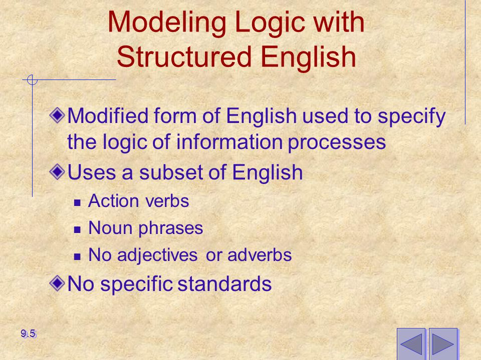 Modeling Logic with Structured English Similar to programming language If conditions Case statements Figure 9-3 shows Structured English representation for Hoosier Burger 9.6