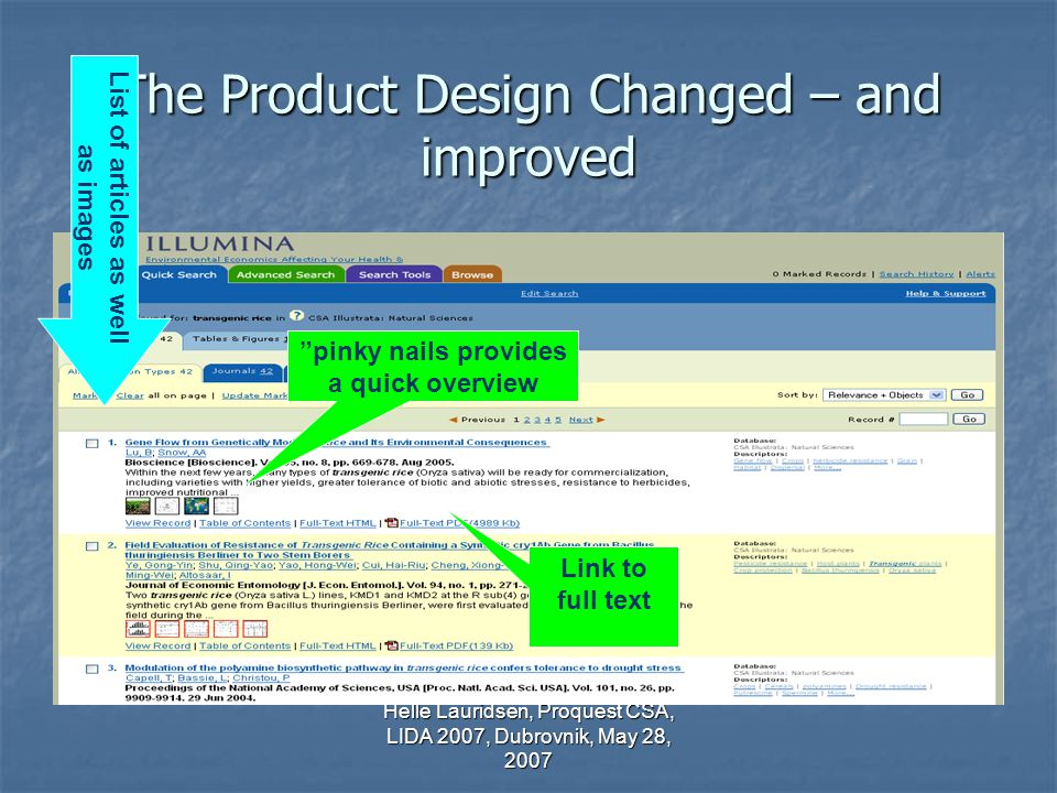 Helle Lauridsen, Proquest CSA, LIDA 2007, Dubrovnik, May 28, 2007 The Product Design Changed – and improved pinky nails provides a quick overview Link to full text List of articles as well as images