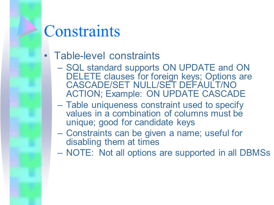 Constraints Table-level constraints –SQL standard supports ON UPDATE and ON DELETE clauses for foreign keys; Options are CASCADE/SET NULL/SET DEFAULT/NO ACTION; Example: ON UPDATE CASCADE –Table uniqueness constraint used to specify values in a combination of columns must be unique; good for candidate keys –Constraints can be given a name; useful for disabling them at times –NOTE: Not all options are supported in all DBMSs