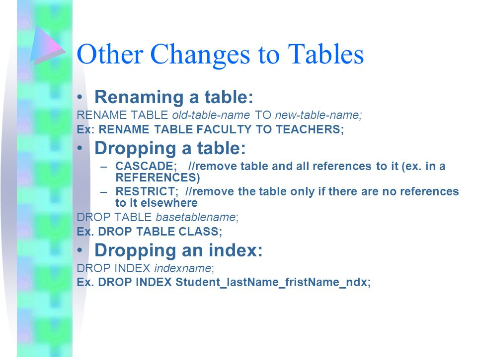 Other Changes to Tables Renaming a table: RENAME TABLE old-table-name TO new-table-name; Ex: RENAME TABLE FACULTY TO TEACHERS; Dropping a table: –CASCADE; //remove table and all references to it (ex.