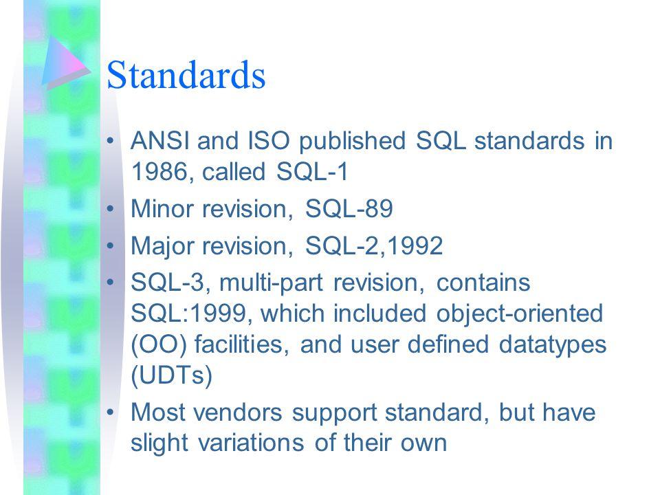 Standards ANSI and ISO published SQL standards in 1986, called SQL-1 Minor revision, SQL-89 Major revision, SQL-2,1992 SQL-3, multi-part revision, con