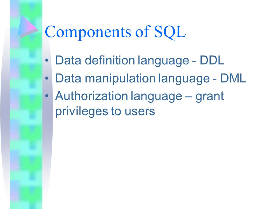 Components of SQL Data definition language - DDL Data manipulation language - DML Authorization language – grant privileges to users