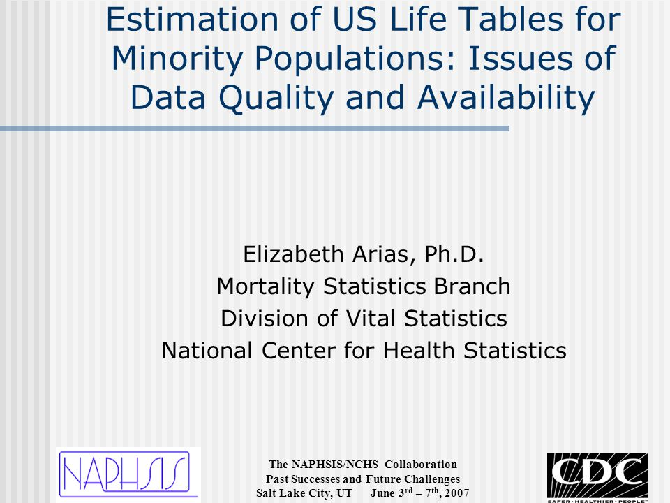 The NAPHSIS/NCHS Collaboration Past Successes and Future Challenges Salt Lake City, UT June 3 rd – 7 th, 2007 Estimation of US Life Tables for Minority Populations: Issues of Data Quality and Availability Elizabeth Arias, Ph.D.