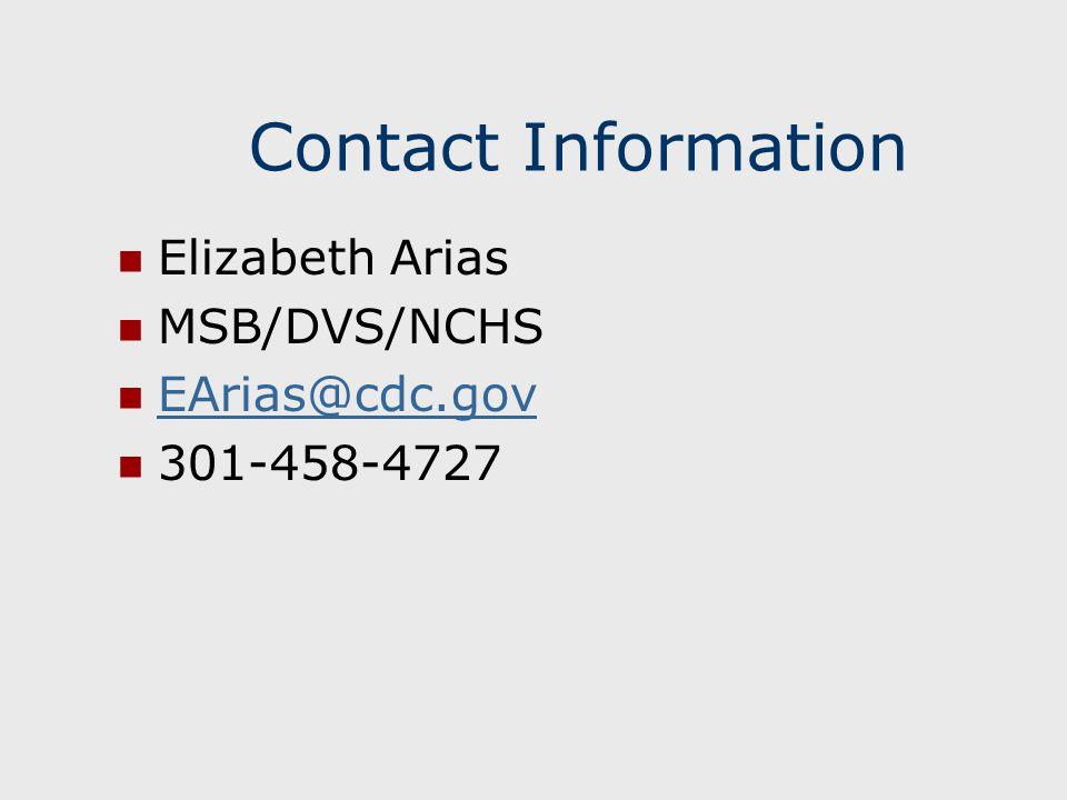 Contact Information Elizabeth Arias MSB/DVS/NCHS EArias@cdc.gov 301-458-4727