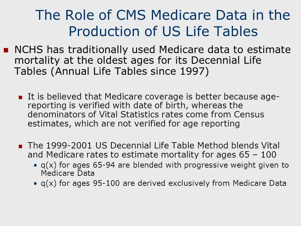 The Role of CMS Medicare Data in the Production of US Life Tables NCHS has traditionally used Medicare data to estimate mortality at the oldest ages for its Decennial Life Tables (Annual Life Tables since 1997) It is believed that Medicare coverage is better because age- reporting is verified with date of birth, whereas the denominators of Vital Statistics rates come from Census estimates, which are not verified for age reporting The 1999-2001 US Decennial Life Table Method blends Vital and Medicare rates to estimate mortality for ages 65 – 100 q(x) for ages 65-94 are blended with progressive weight given to Medicare Data q(x) for ages 95-100 are derived exclusively from Medicare Data