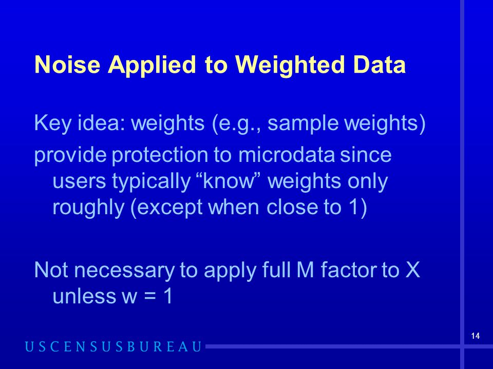 14 Noise Applied to Weighted Data Key idea: weights (e.g., sample weights) provide protection to microdata since users typically know weights only rou