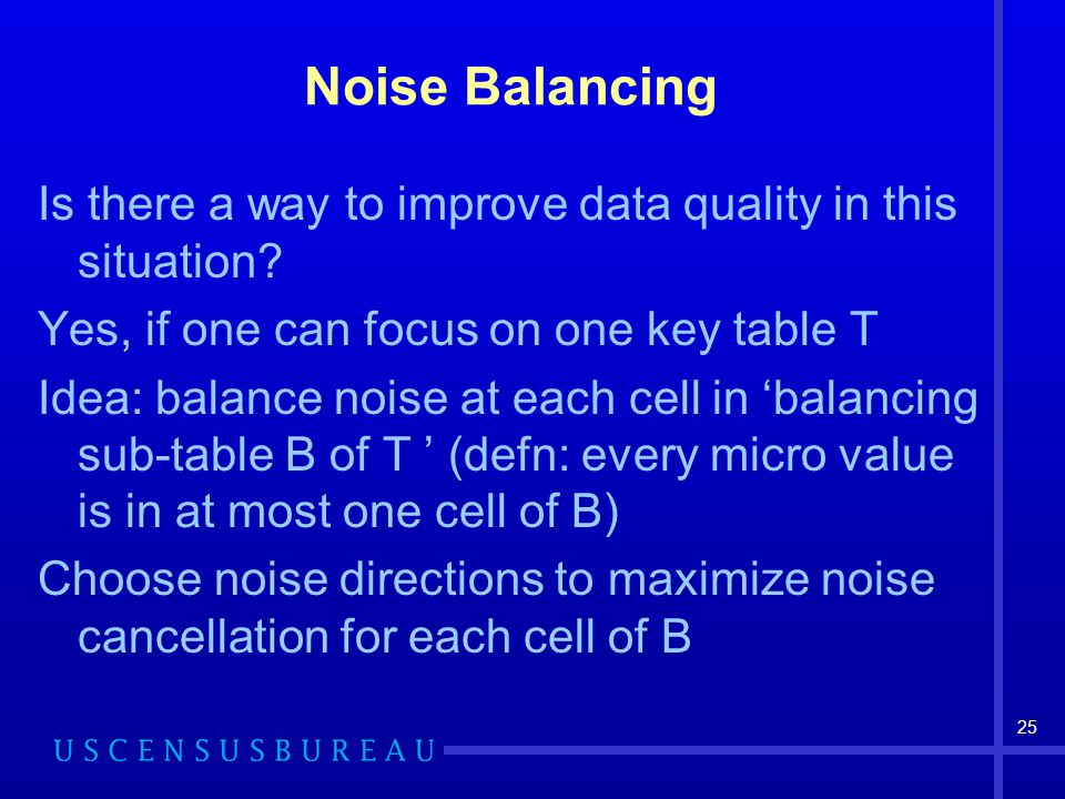25 Noise Balancing Is there a way to improve data quality in this situation.