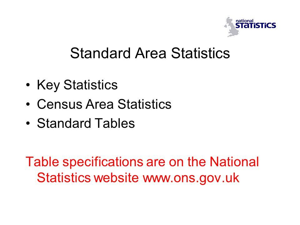 Standard Area Statistics Key Statistics Census Area Statistics Standard Tables Table specifications are on the National Statistics website www.ons.gov.uk