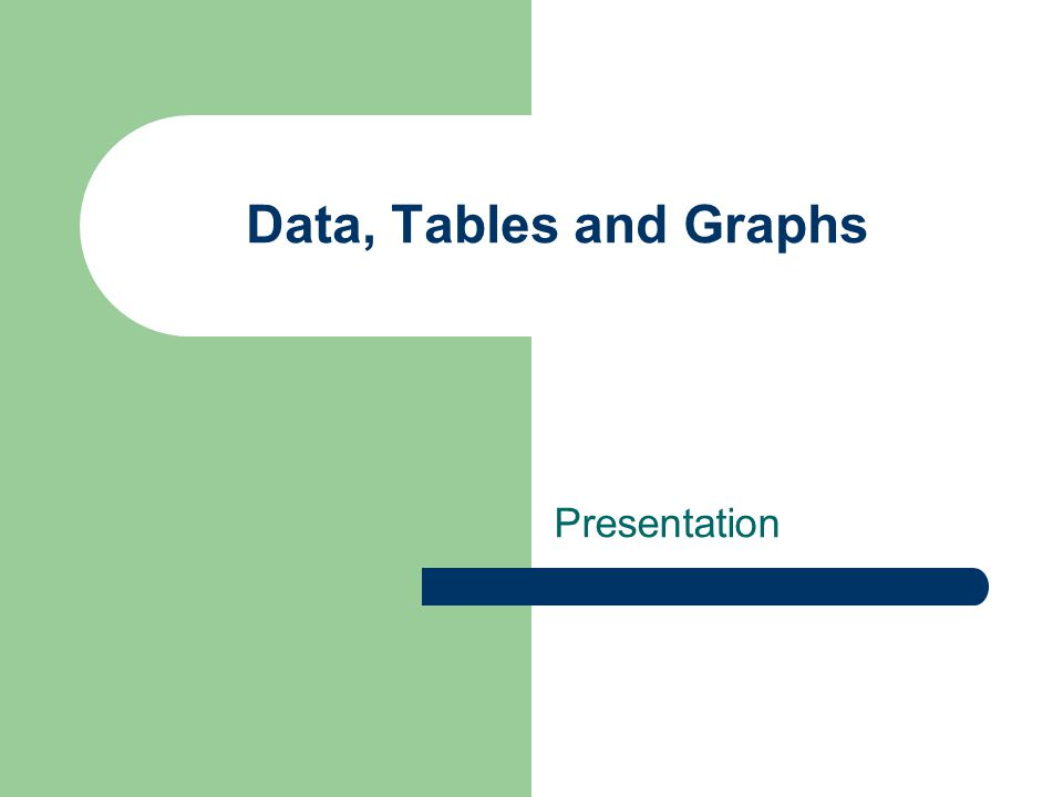 Data, Tables and Graphs Presentation