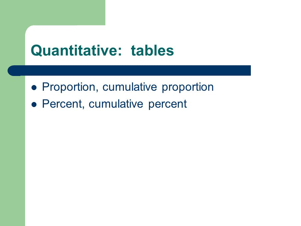 Quantitative: tables Proportion, cumulative proportion Percent, cumulative percent