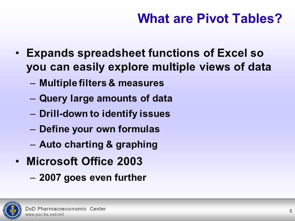 DoD Pharmacoeconomic Center www.pec.ha.osd.mil 5 What are Pivot Tables? Expands spreadsheet functions of Excel so you can easily explore multiple view