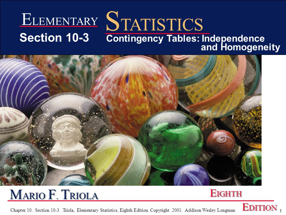 2 Chapter 10.Section 10-3. Triola, Elementary Statistics, Eighth Edition.