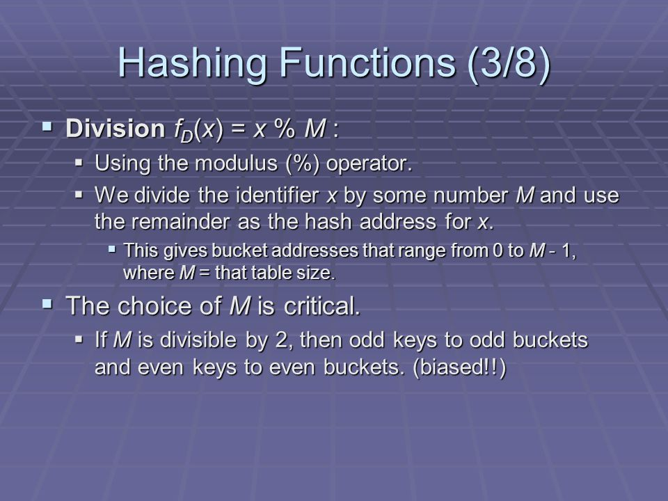 Hashing Functions (3/8) Division f D (x) = x % M : Division f D (x) = x % M : Using the modulus (%) operator. Using the modulus (%) operator. We divid