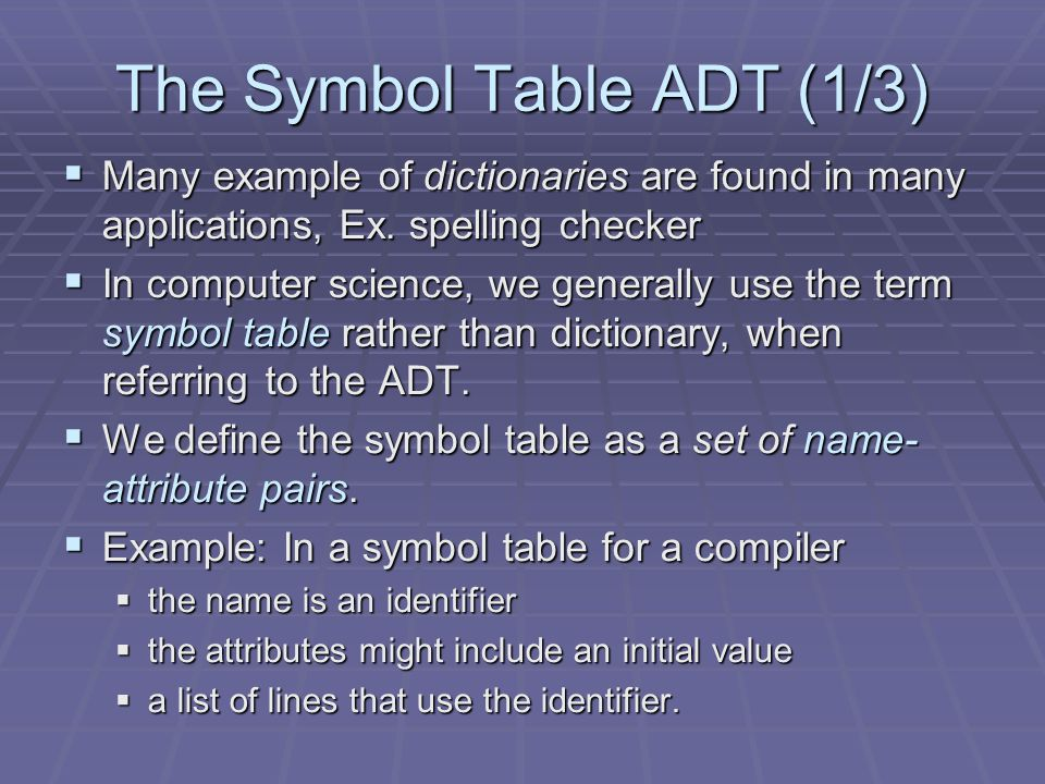 The Symbol Table ADT (1/3) Many example of dictionaries are found in many applications, Ex. spelling checker Many example of dictionaries are found in