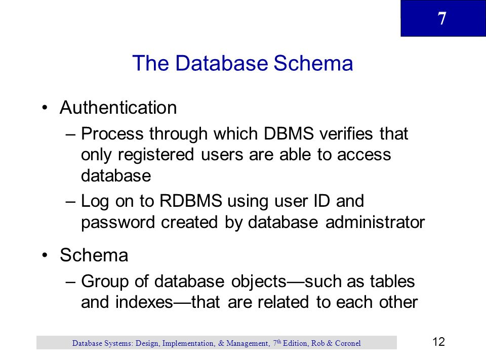 7 12 Database Systems: Design, Implementation, & Management, 7 th Edition, Rob & Coronel The Database Schema Authentication –Process through which DBM