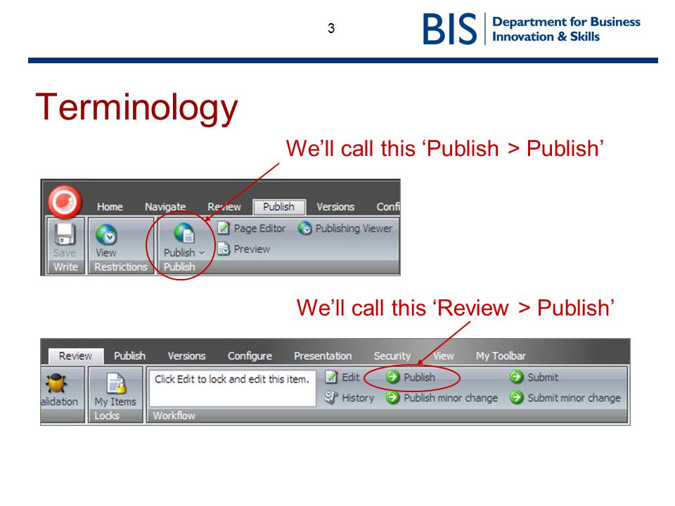 3 Terminology Well call this Publish > Publish Well call this Review > Publish