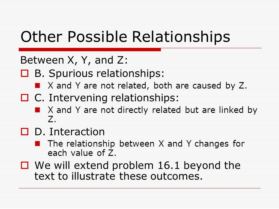 Other Possible Relationships Between X, Y, and Z: B. Spurious relationships: X and Y are not related, both are caused by Z. C. Intervening relationshi