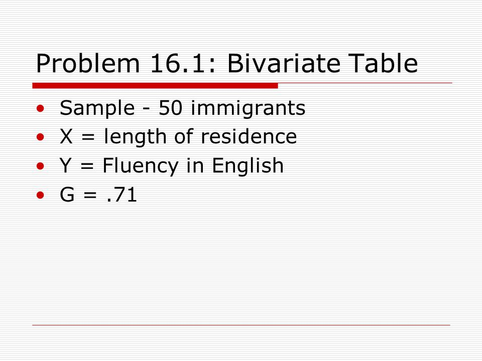 Problem 16.1: Bivariate Table Sample - 50 immigrants X = length of residence Y = Fluency in English G =.71