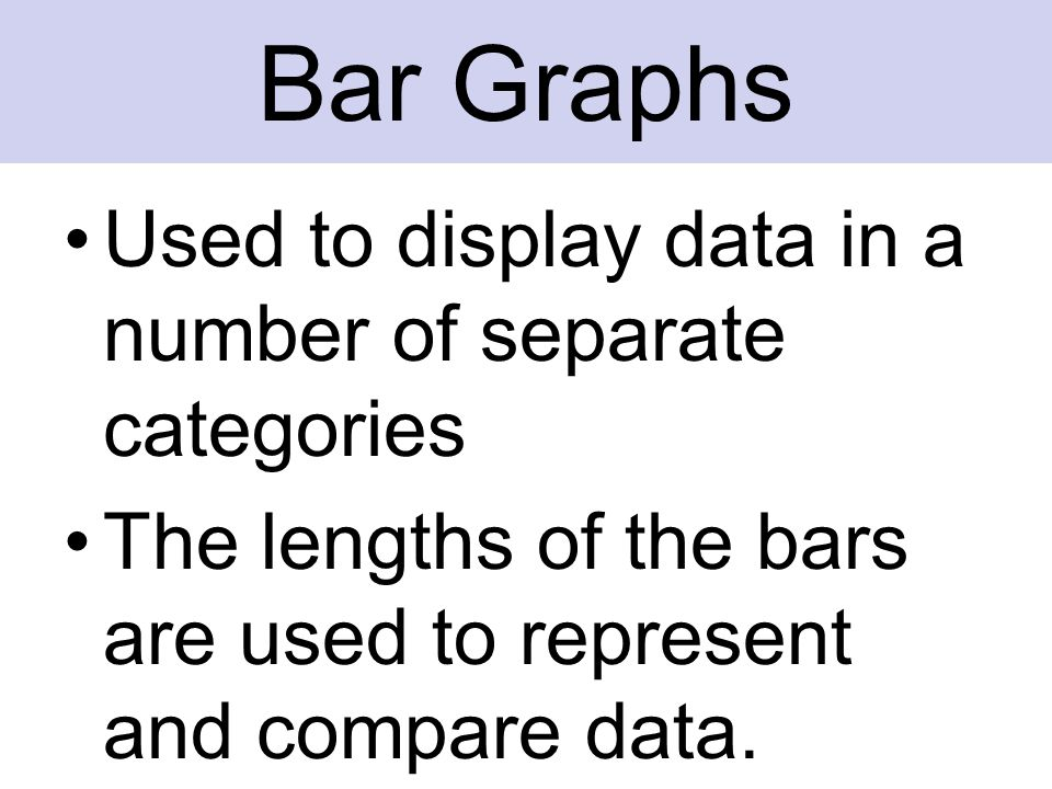 Used to display data in a number of separate categories The lengths of the bars are used to represent and compare data. Bar Graphs