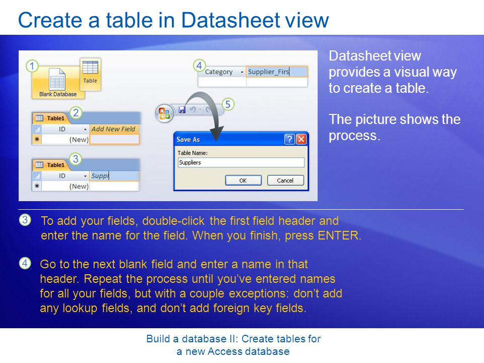 Build a database II: Create tables for a new Access database Create a table in Datasheet view Datasheet view provides a visual way to create a table.