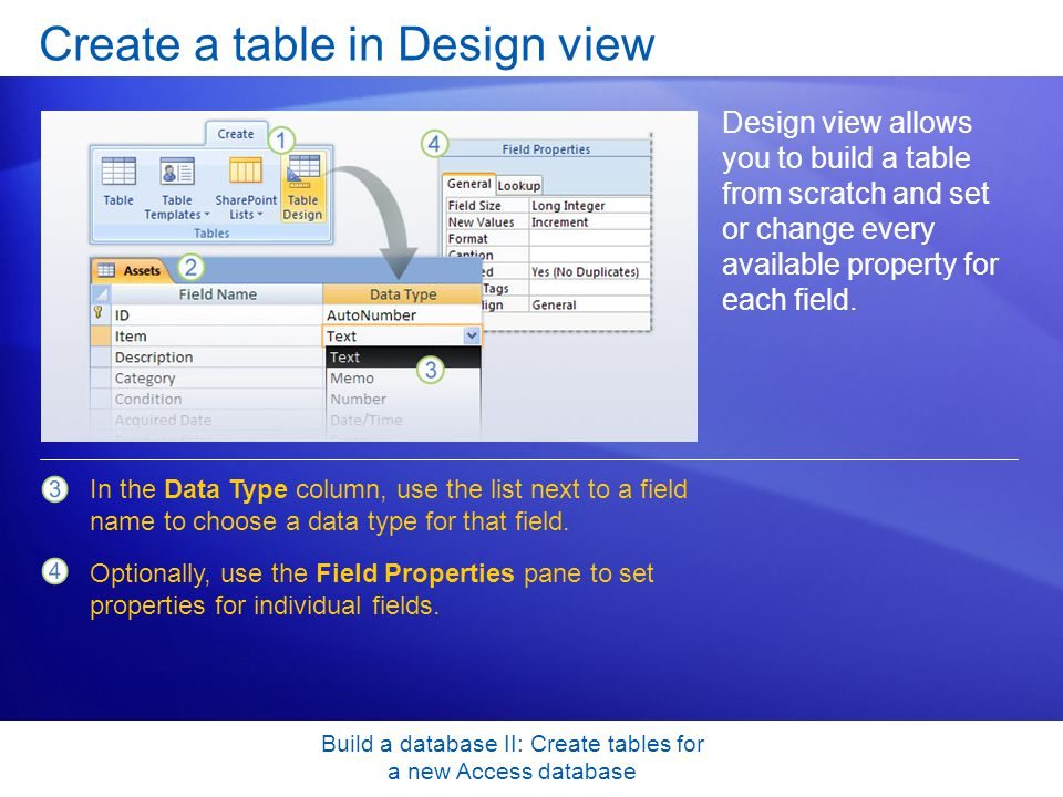 Build a database II: Create tables for a new Access database Create a table in Design view Design view allows you to build a table from scratch and set or change every available property for each field.